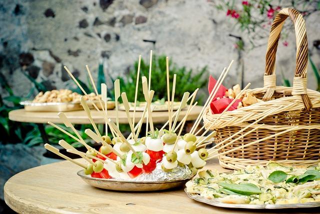 Party, Skewers, Chunks, Table, Mozzarella, Celebration