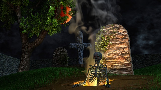 Halloween, Cemetery, Graves, Skeleton, Creepy
