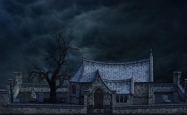 Cemetery, Church, Tree, Gloomy, Mystical, Mood