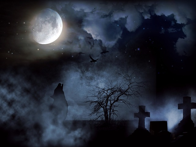 Cemetery, Creepy, Moon, Wolf, Night, Cross, Clouds