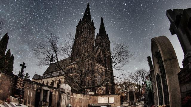 Cathedral, Cemetery, Night, Grave, The Tombstones