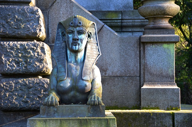 Sphinx, Tomb, Statue, Weathered, Cemetery