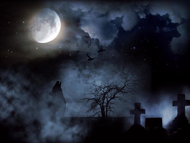 Cemetery, Creepy, Moon, Wolf, Night, Cross, Clouds