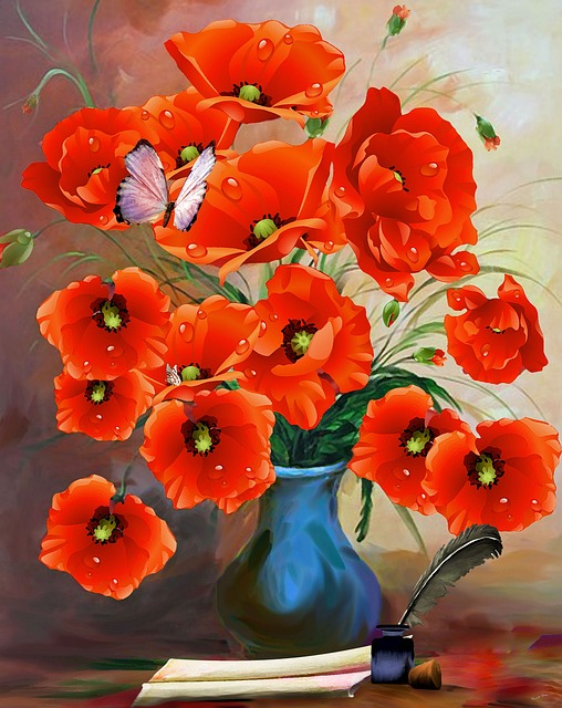 Poppies, Vase, Art, Traditionally, Ceramic, Flower Vase