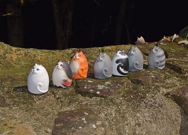 Ceramic Cats, Cat-pack, Handmade, Art, Clay, Decoration