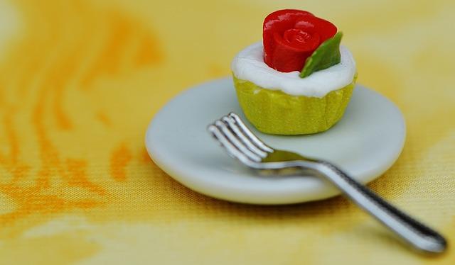 Cupcake, Cake, Plate, Fork, Miniature, Ceramic, Funny
