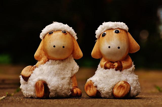 Sheep, Deco, Ceramic, Cute, Fig, Soft Toy, Wool, Face