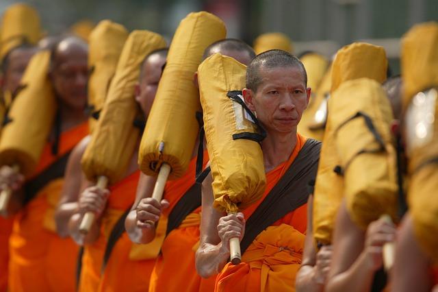 Buddhists, Monks, Orange, Robes, Ceremony, Convention