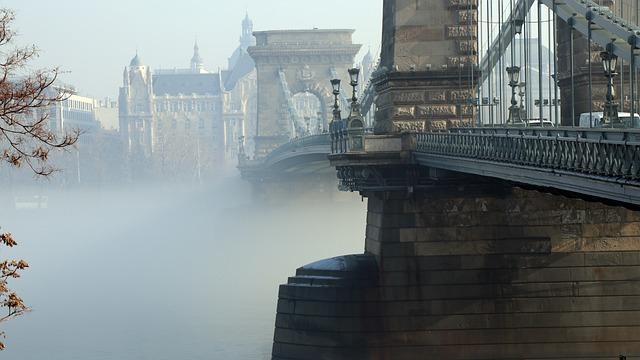 Budapest, Danube, Chain Bridge, Fog