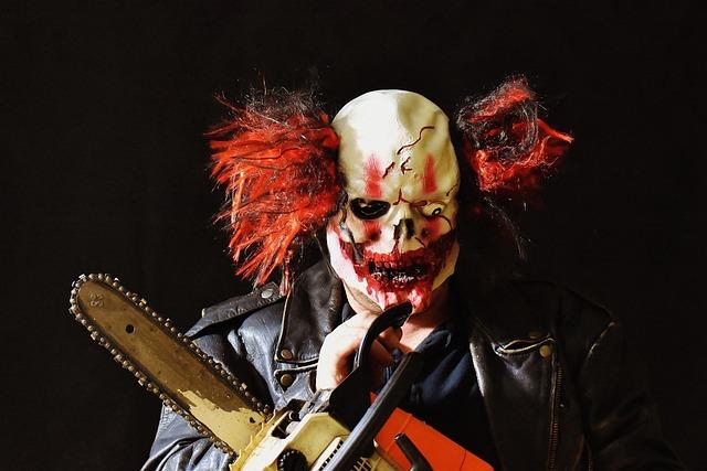 Horror Clown, Mass Murderer, Chainsaw, Mask, Clown