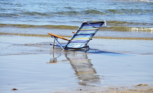 Beach, Empty, Chair, Water, Nature, Ocean, Sand
