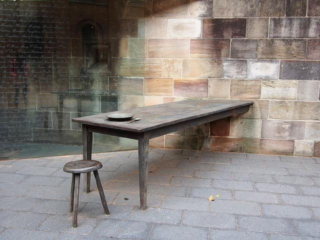 Table, Chair, Brick, Wood, Decor