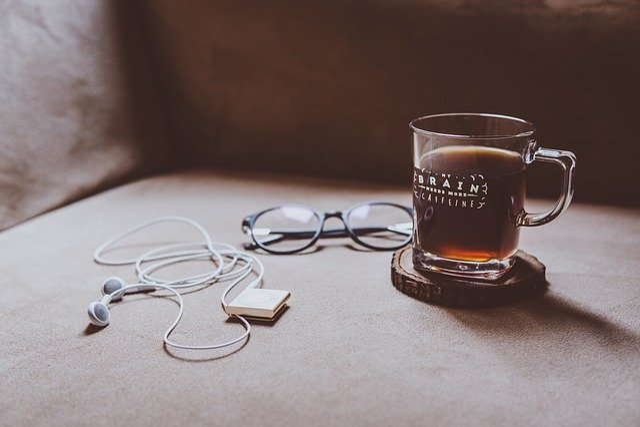 Couch, Chair, Earphones, Ipod, Eyeglasses, Coffee