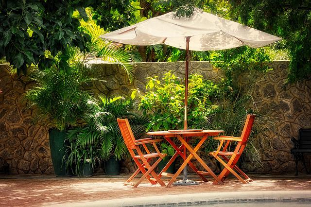 Screen, Table, Chair, Seating Area, Parasol, Tropical
