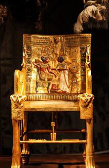 Chair, Golden, Decorated, Valuable, Treasure, Egypt