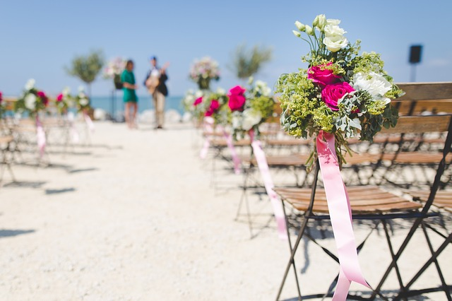 Aisle, Beach, Bloom, Blossom, Bouquets, Chairs, Flora