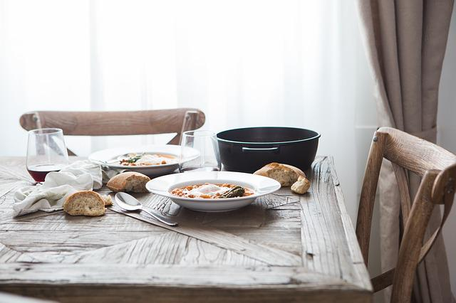 Chairs, Dish, Food, Meal, Table, Wooden