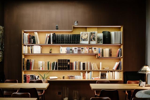 Books, Bookshelves, Chairs, Lamp, Tables