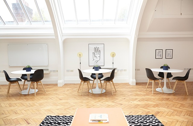 Interior, Design, Tables, Chairs, White, Wall, Board