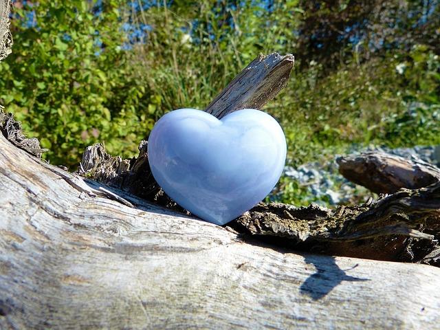 Heart, Love, Nature, Chalcedony, Light Blue, Luck