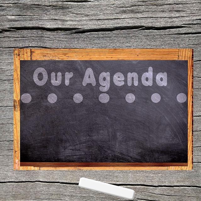 Agenda, Board, Chalk, Wood, Management, Conception