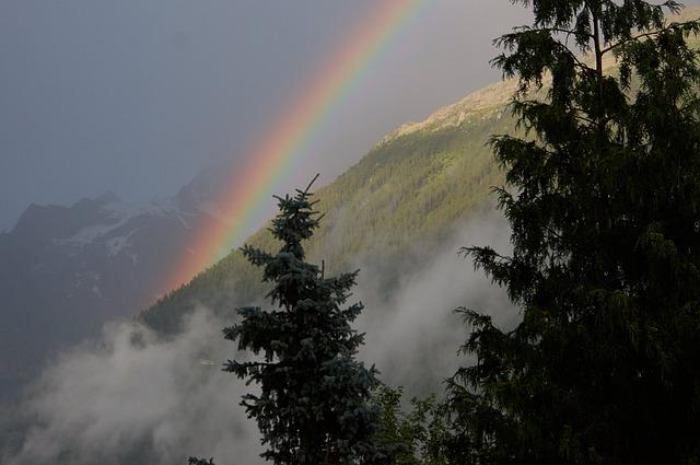 Chamonix, Rainbow, Sky, Nature