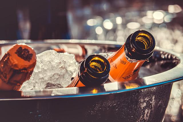 Champagne, Champagne Bottles, Ice, Champagne Cooler