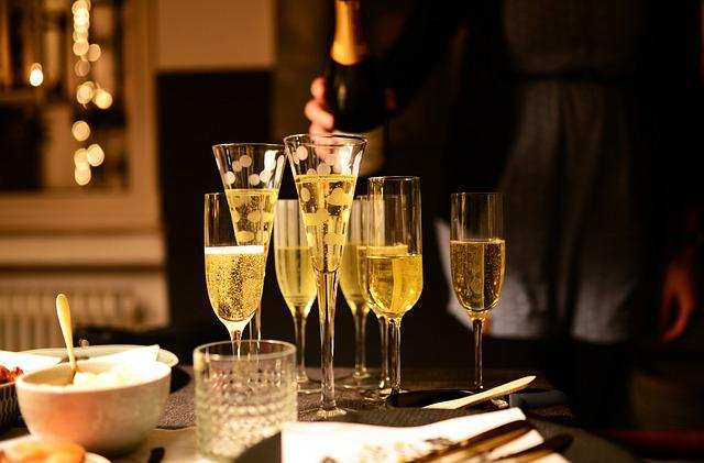 Glasses, Champagne Glasses, Champagne, New Year's Day