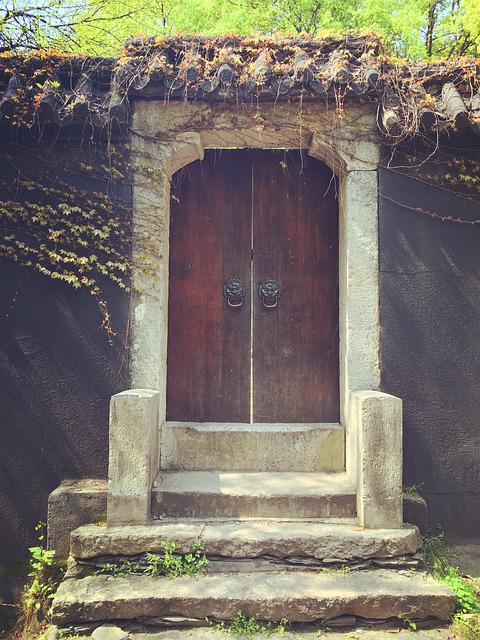 Park, Changsha, Door, Antique