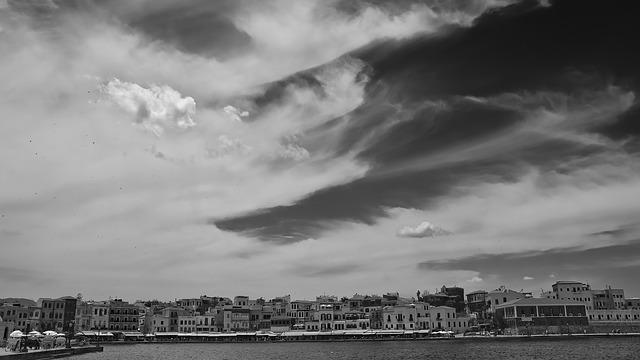 Crete, Chania, Greece, Black And White, Summer Vacation