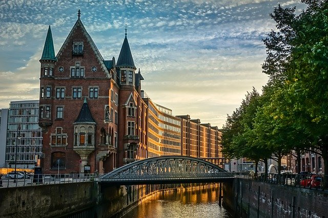 Hamburg, Speicherstadt, Channel, Houses, Germany