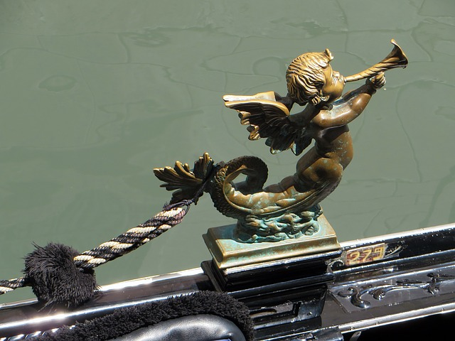 Venice, Gondola, Decoration, Channel, Gondolier, Angel