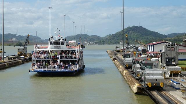 Panama, Panama Canal, Caribbean, Sky, Lock, Channel