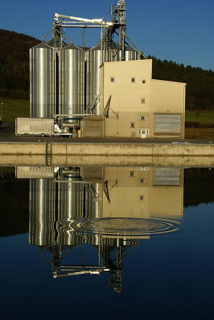 Industrial Building, Channel, Water, Mirroring