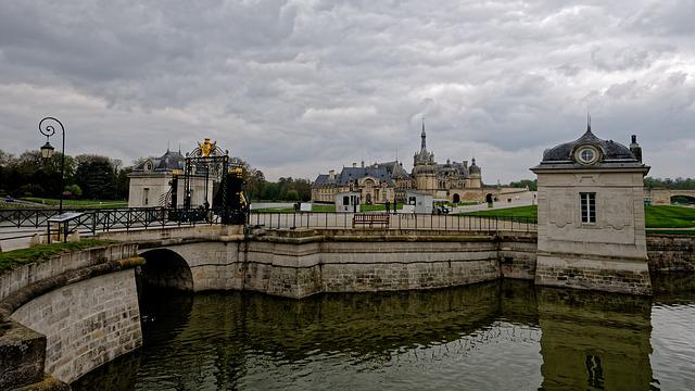 Chateau, Chantilly, France, Picardy, Castle, Water, Dig