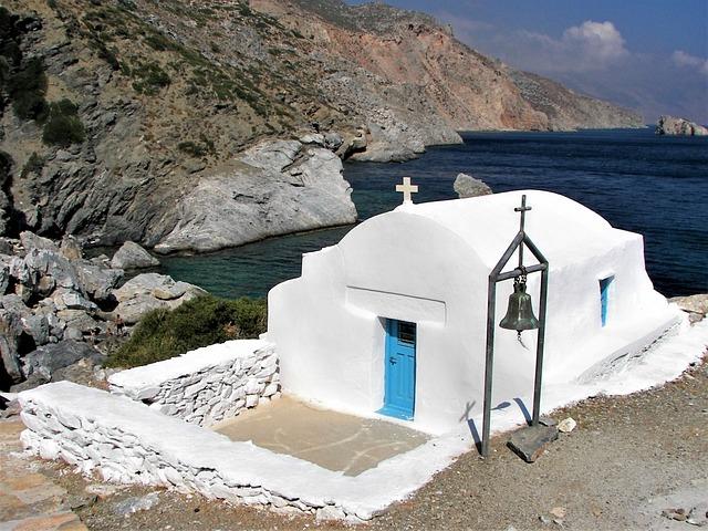 Greece, Cyclades, Chapel, Amorgos, Aegean Sea