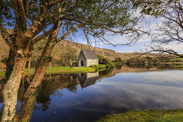Ireland, Lake, Calm, Reflection, Chapel, Water