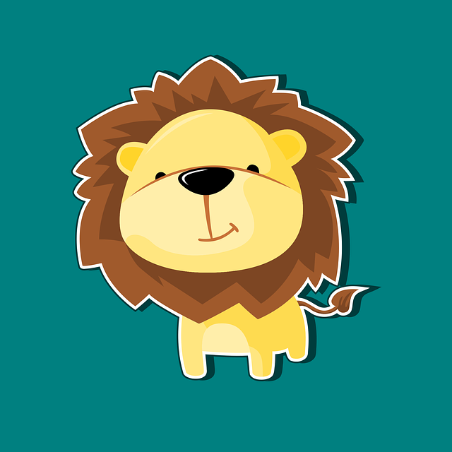 Lion, Mascot, Character, Icon, Cartoon, Flat, Smile