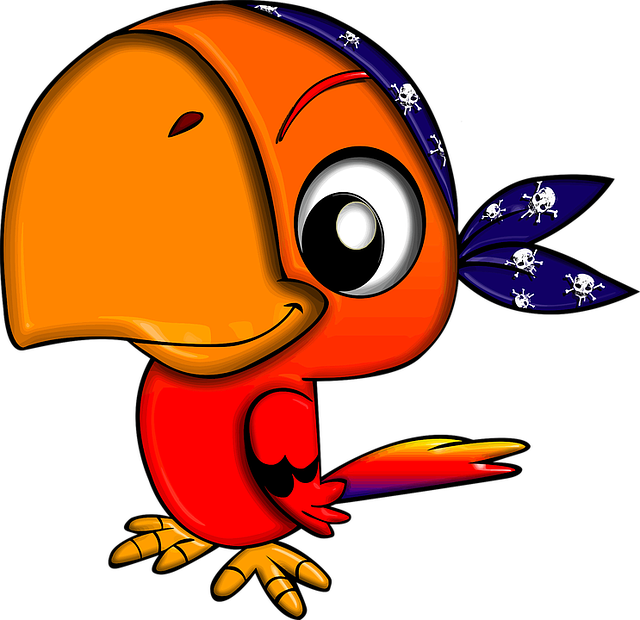 Bird, Cartoon, Character, Parrot, Pirate