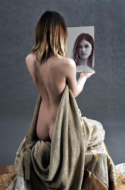 Girl, The Act Of, Mirror, Portrait, Character, Studio