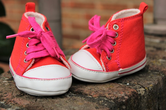 Baby Shoes, Girl, Charming, Birth, The Birth Of, Red