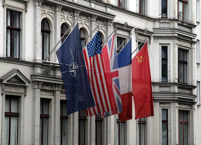 Checkpoint Charlie, Flags, Berlin, Eastern Bloc, Nato