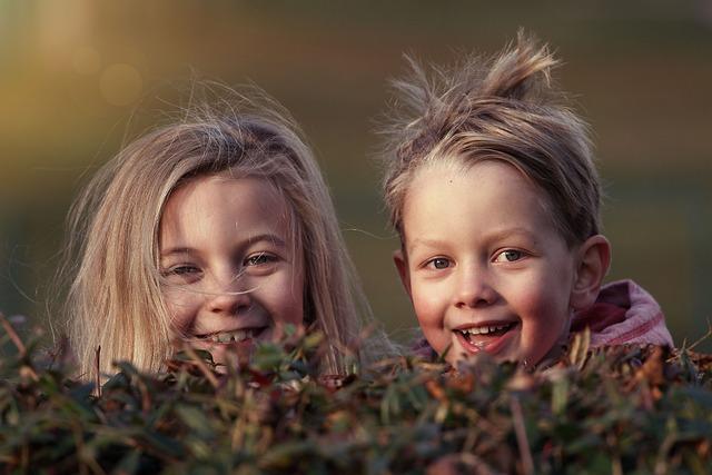 Children, Happy, Siblings, Hide, Play, Fun, Cheeks