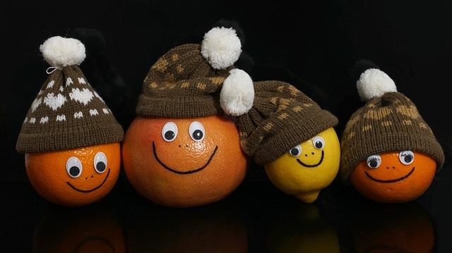 Fruits, Orange, Grapefruit, Lemon, Faces, Cheerful