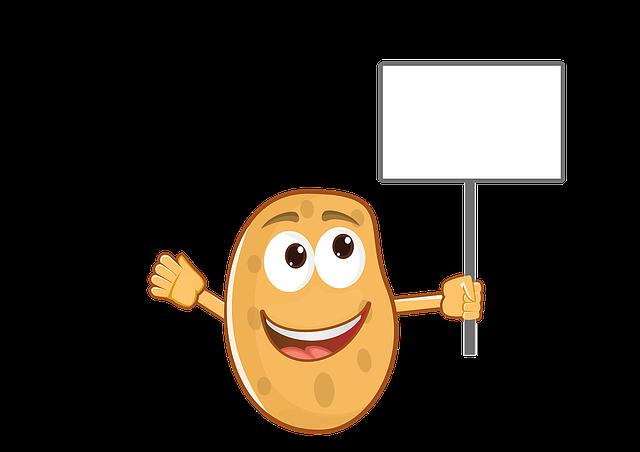 Potato, Mascot, Cartoon, Food, Character, Cheerful