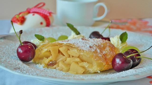 Strudel, Apple Strudel, Apple, Fruit, Cherries, Cream