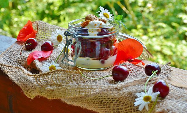 Cherries, Cherry Dessert, Cream, Yogurt, Dessert