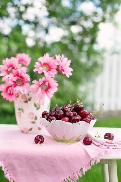 Cherries In A Bowl, Fruit, Summer, Breakfast
