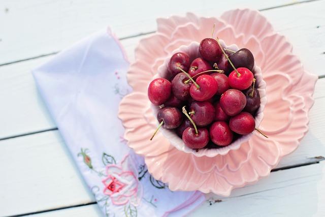 Cherries, Bowl, Pink, Fruit, Breakfast, Morning, Fresh