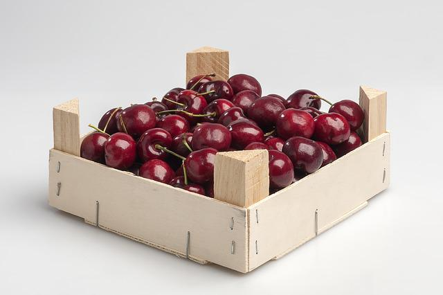 Box, Cherries, Smurf, Wood